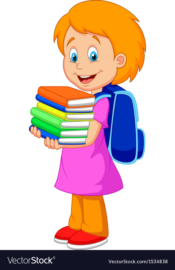 Cartoon girl bring pile of books vector | Price: 1 Credit (USD $1)