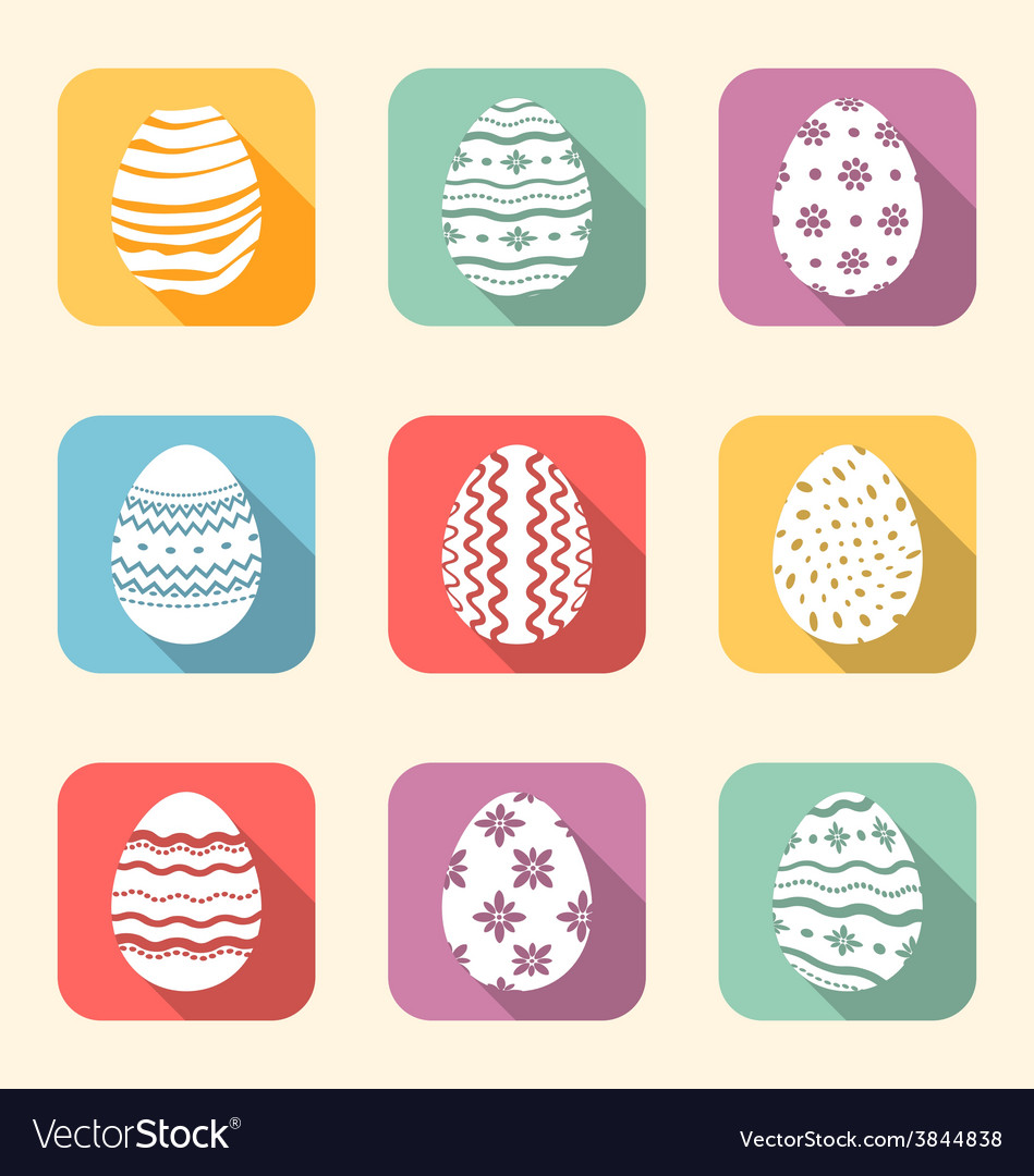Flat icon of easter ornate eggs long shadow style vector | Price: 1 Credit (USD $1)