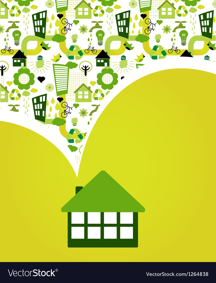 House with green eco pattern vector | Price: 1 Credit (USD $1)