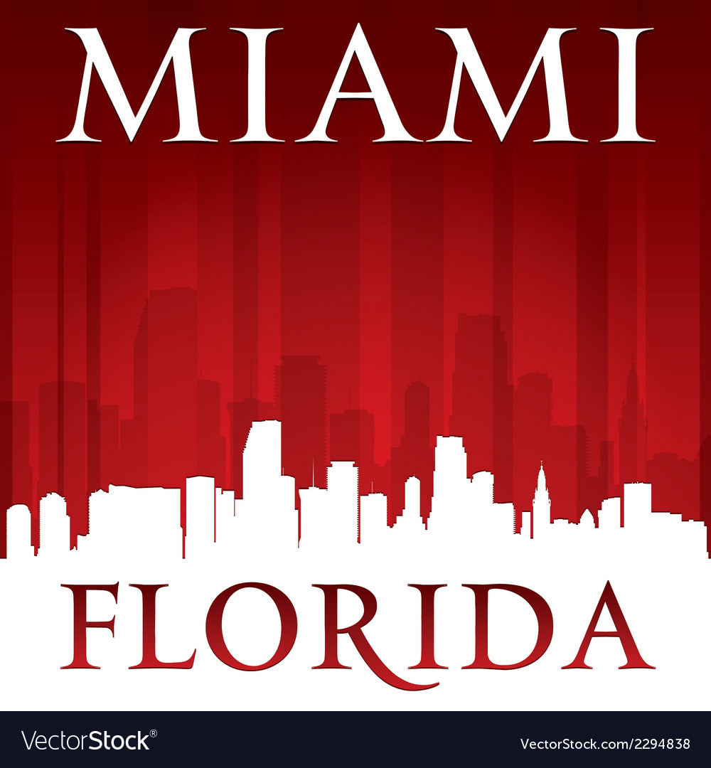 Miami florida city skyline silhouette vector | Price: 1 Credit (USD $1)