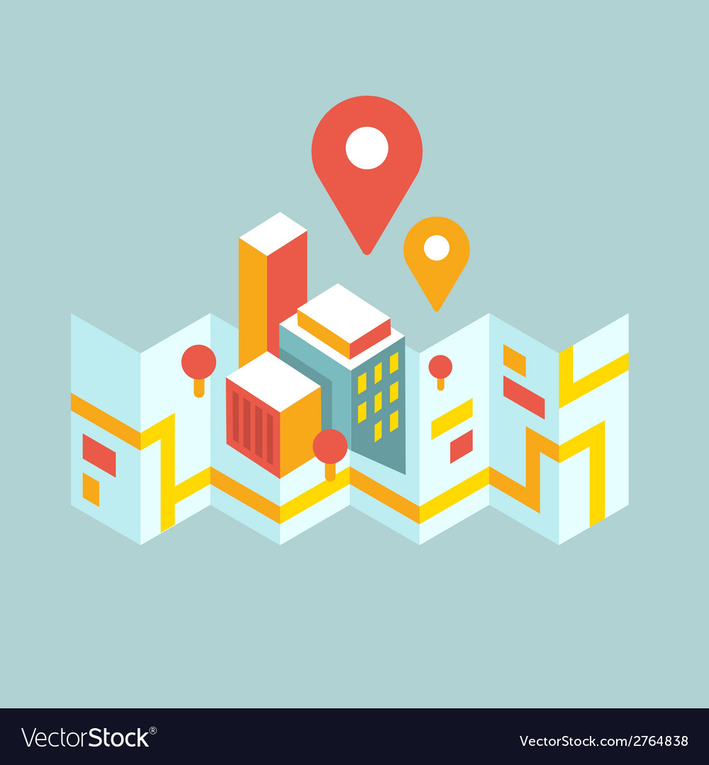 Modern city map and geo signs vector | Price: 1 Credit (USD $1)