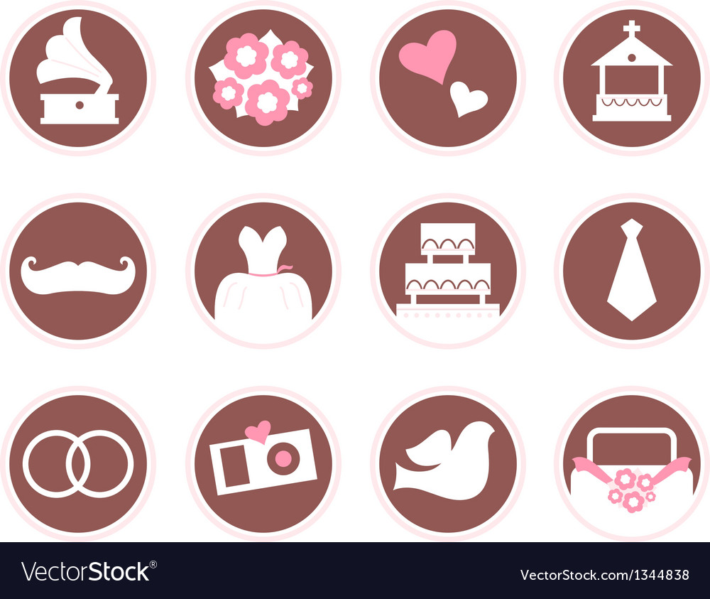 Retro wedding design elements and icons vector | Price: 1 Credit (USD $1)