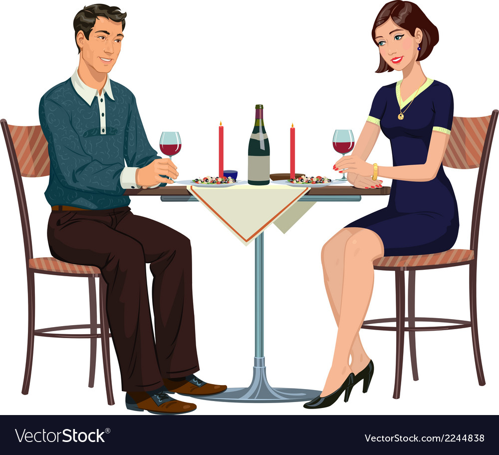 Romantic dinner in a cafe for two vector | Price: 1 Credit (USD $1)