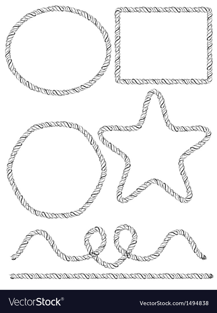 Set of hand drawn rope frames vector | Price: 1 Credit (USD $1)