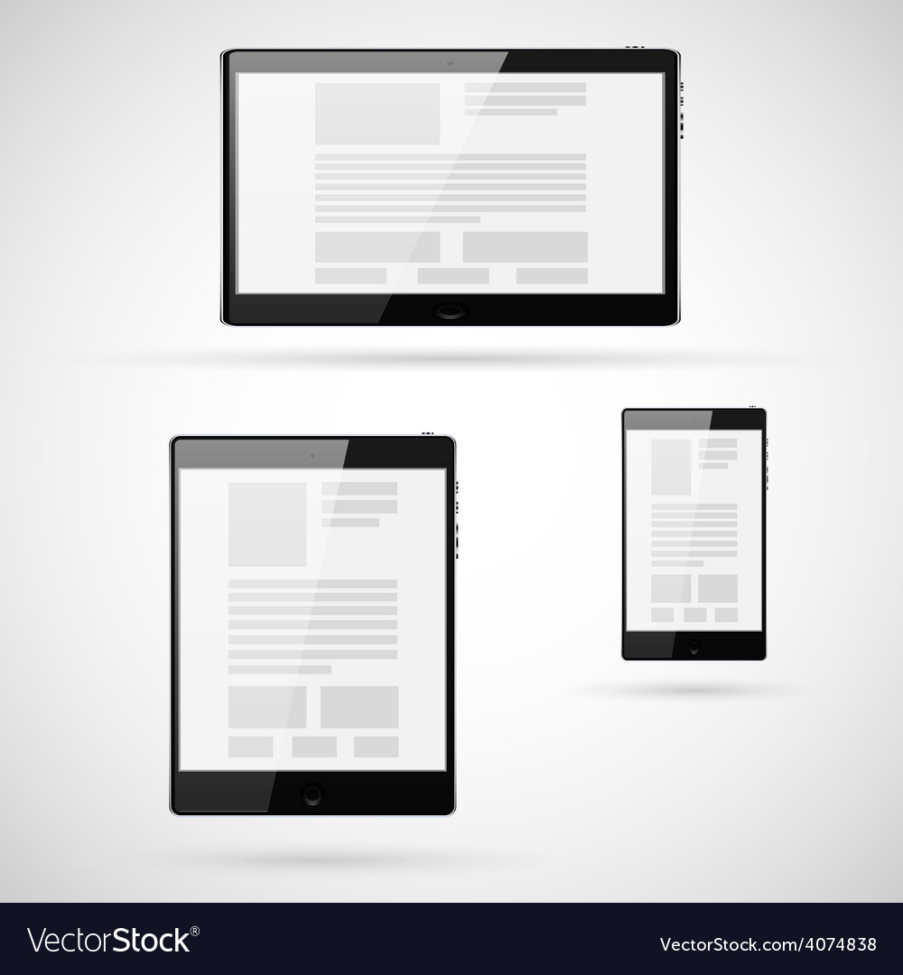 Set of tablet computers template vector | Price: 1 Credit (USD $1)