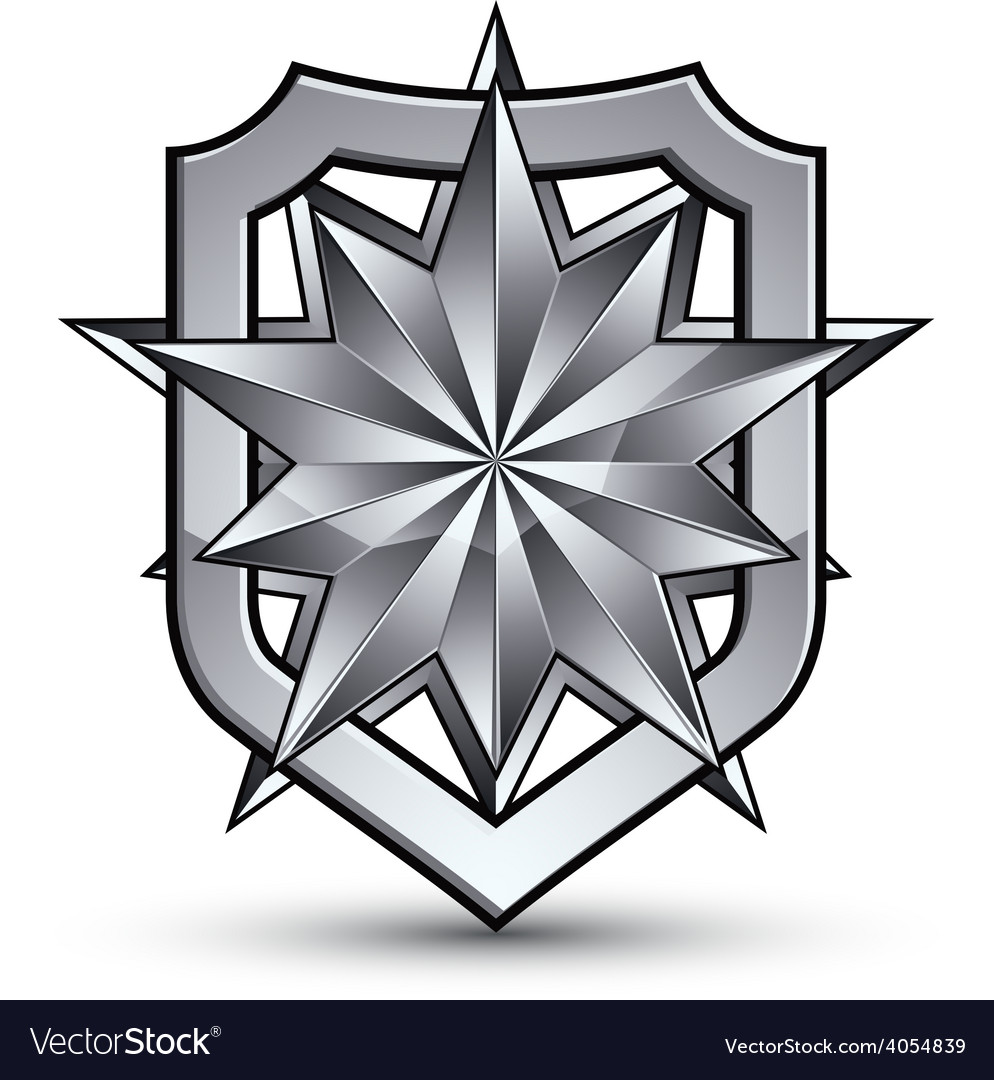 3d heraldic template with polygonal silver star vector | Price: 1 Credit (USD $1)
