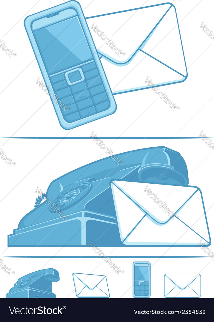 Contact us symbol phone mail vector | Price: 1 Credit (USD $1)