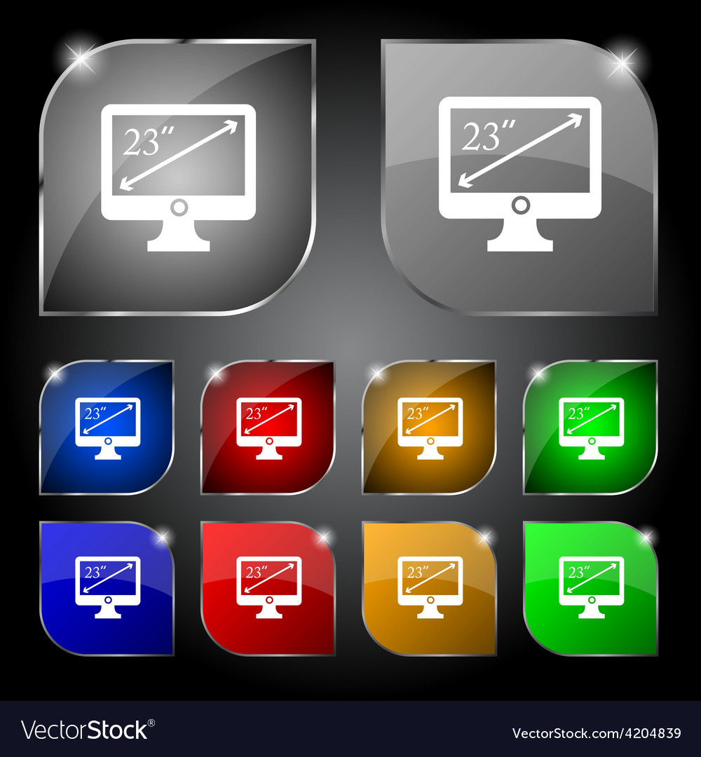 Diagonal of the monitor 23 inches icon sign set of vector | Price: 1 Credit (USD $1)