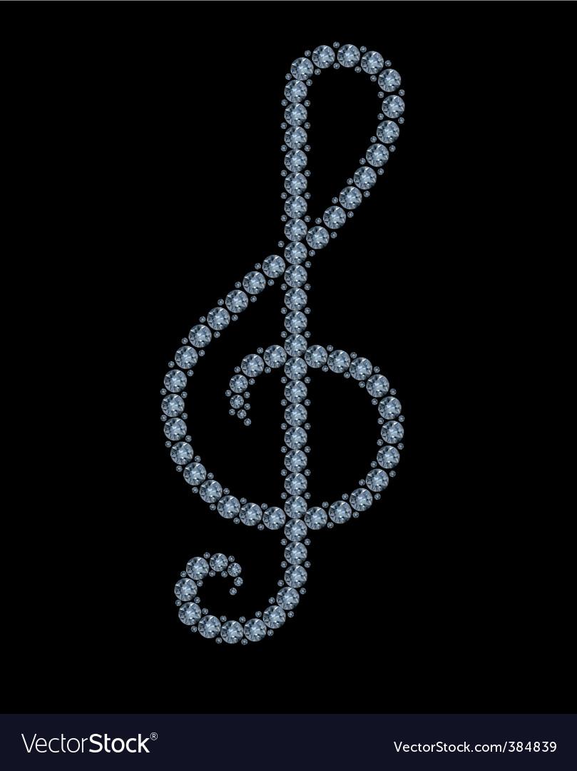 Diamond treble clef vector | Price: 1 Credit (USD $1)