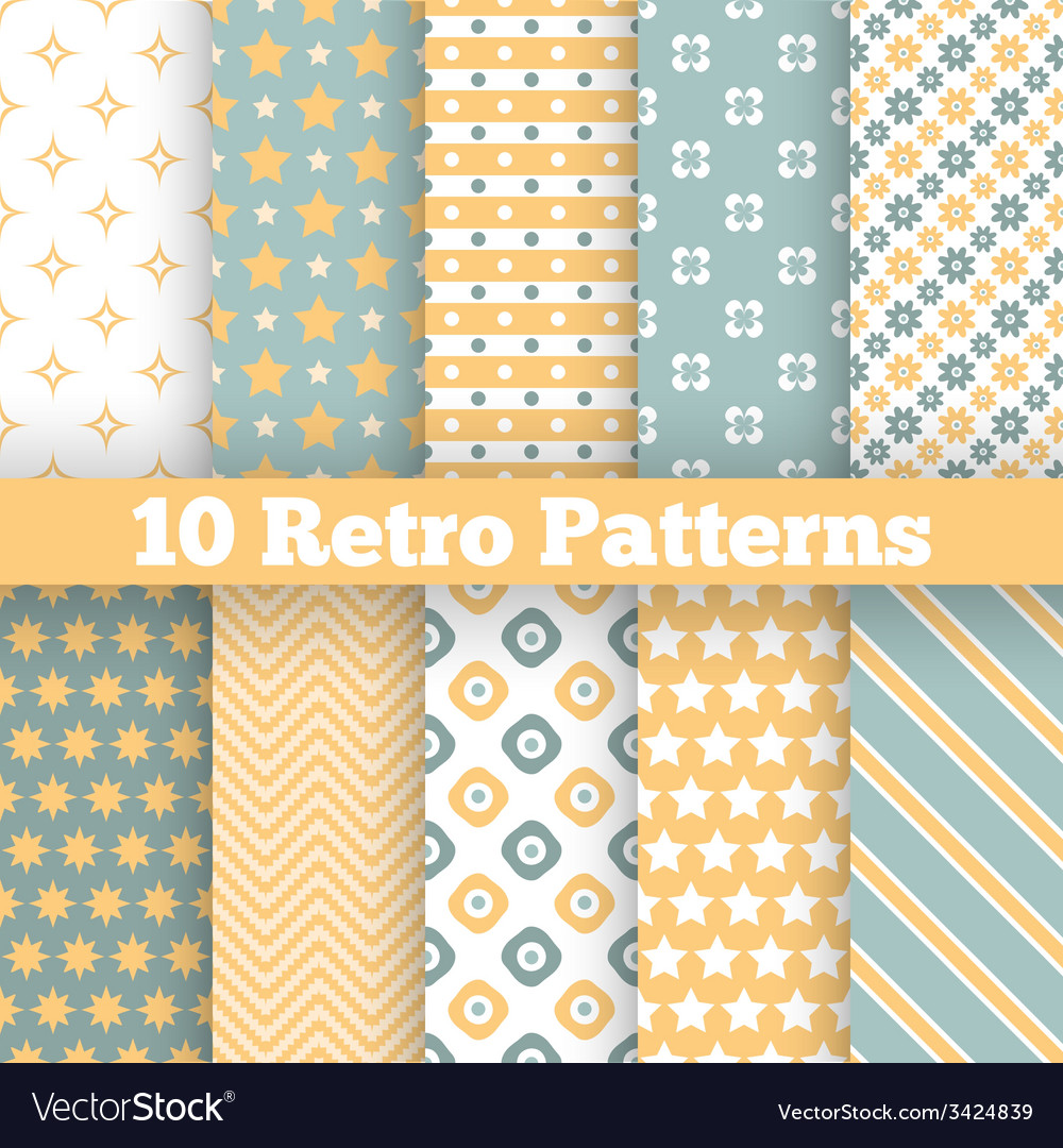 Fashion retro different seamless patterns vector | Price: 1 Credit (USD $1)