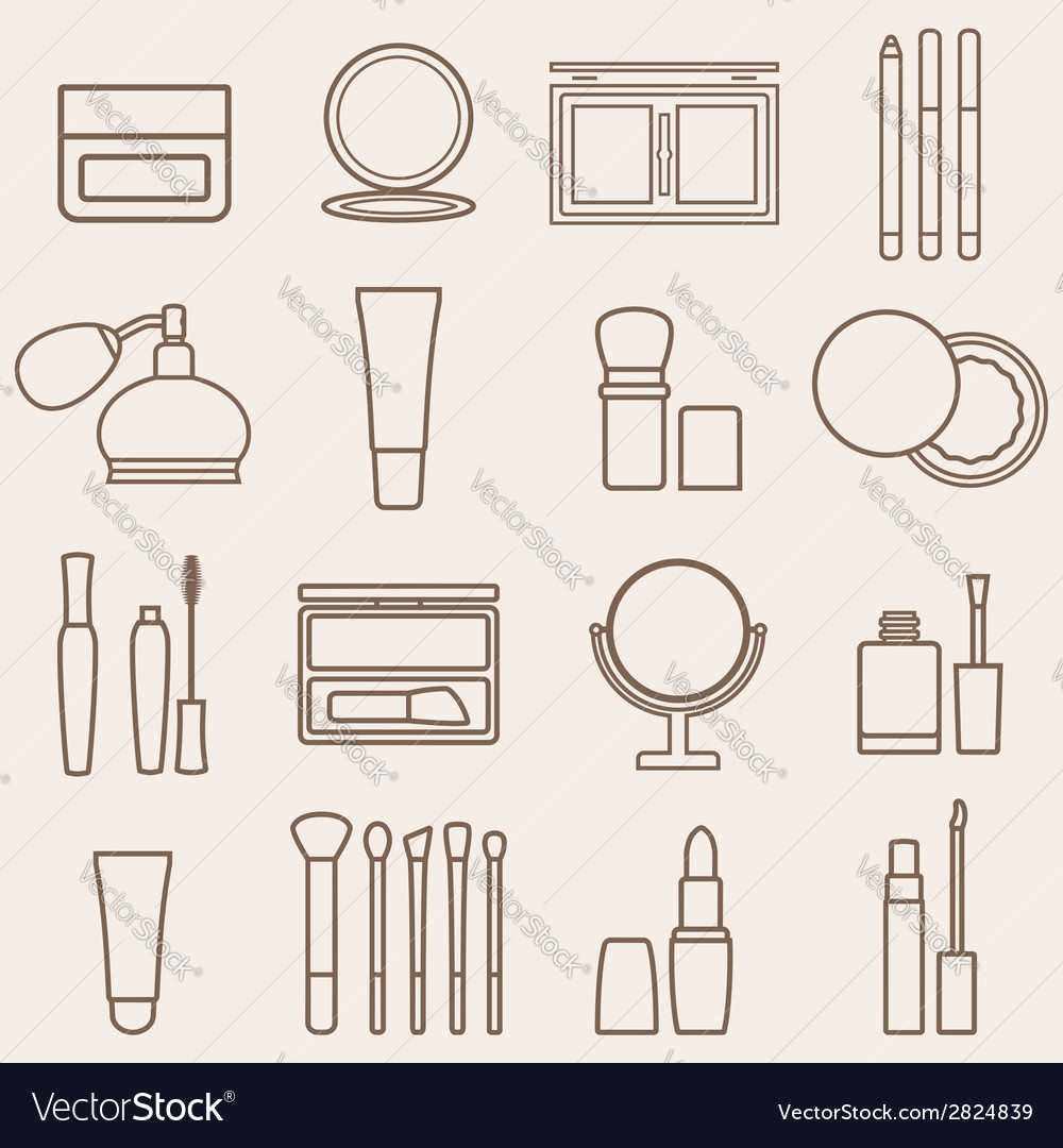 Set of silhouette beauty and cosmetics icons vector | Price: 1 Credit (USD $1)