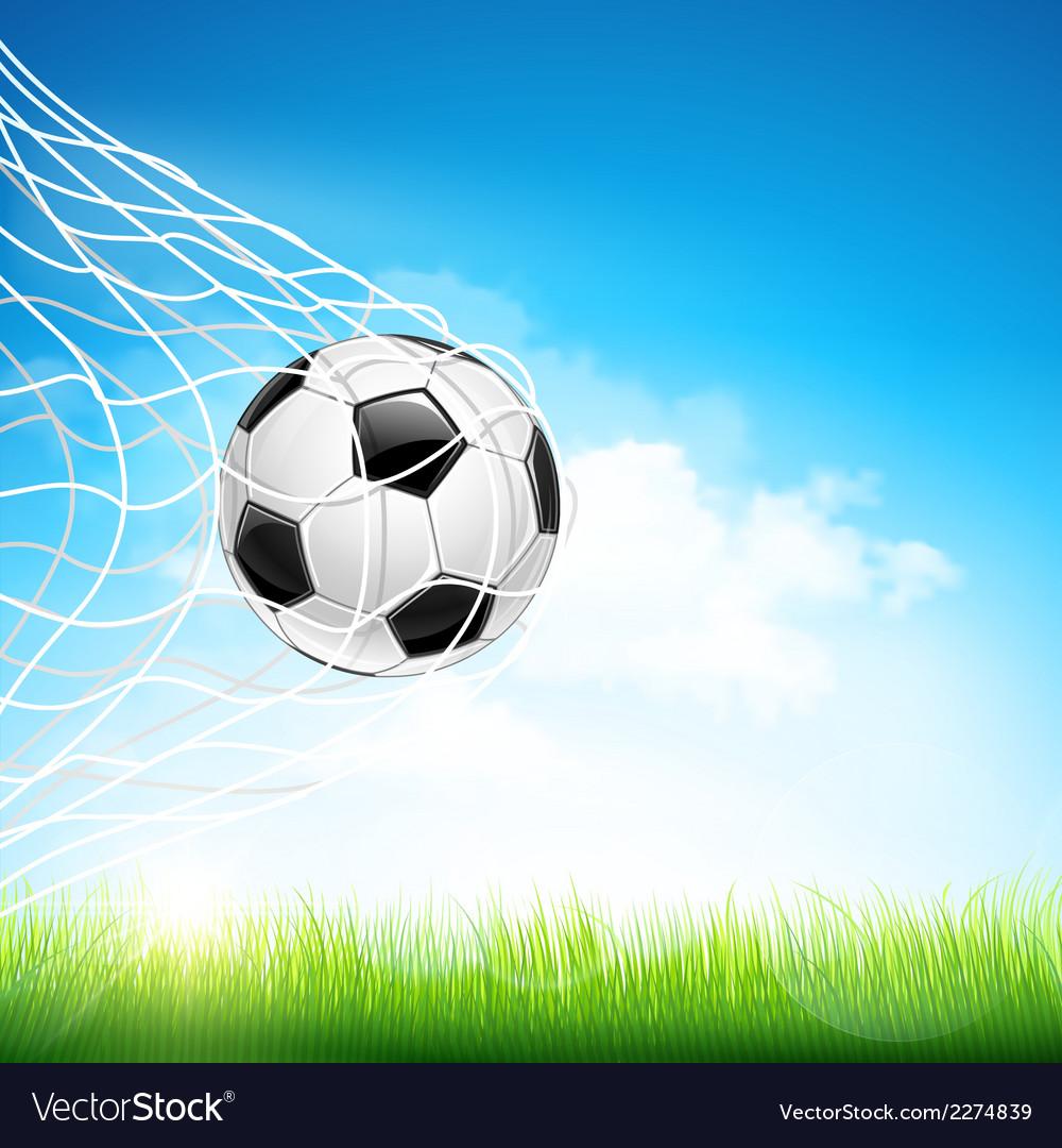 Soccer ball in goal vector | Price: 1 Credit (USD $1)