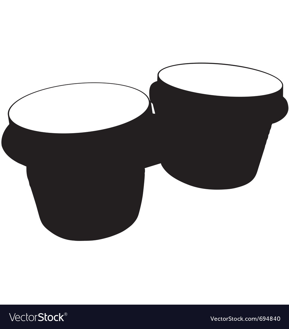 Bongo drums silhouette vector | Price: 1 Credit (USD $1)