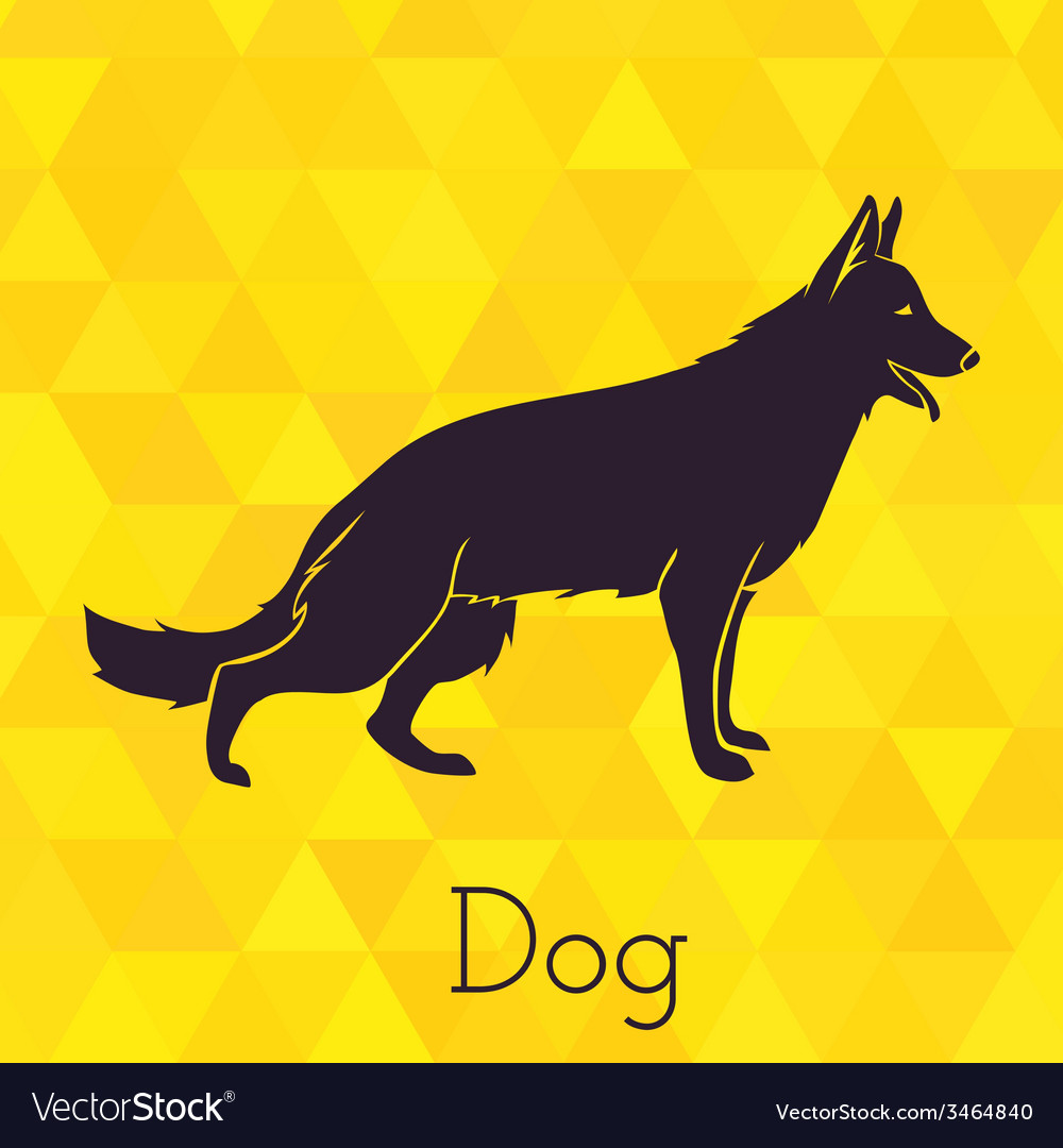 Dog silhouette on triangles background vector | Price: 1 Credit (USD $1)