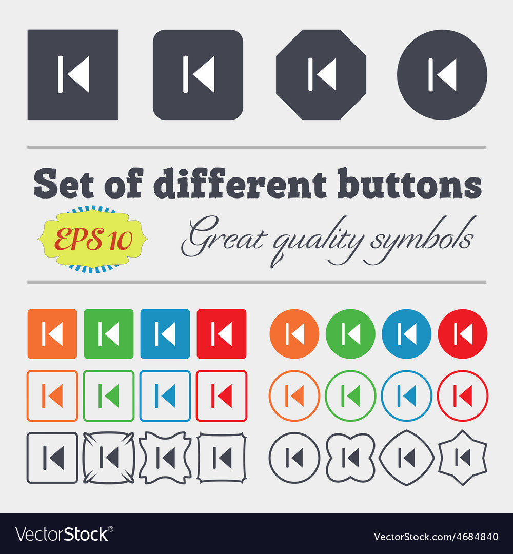Fast backward icon sign big set of colorful vector | Price: 1 Credit (USD $1)