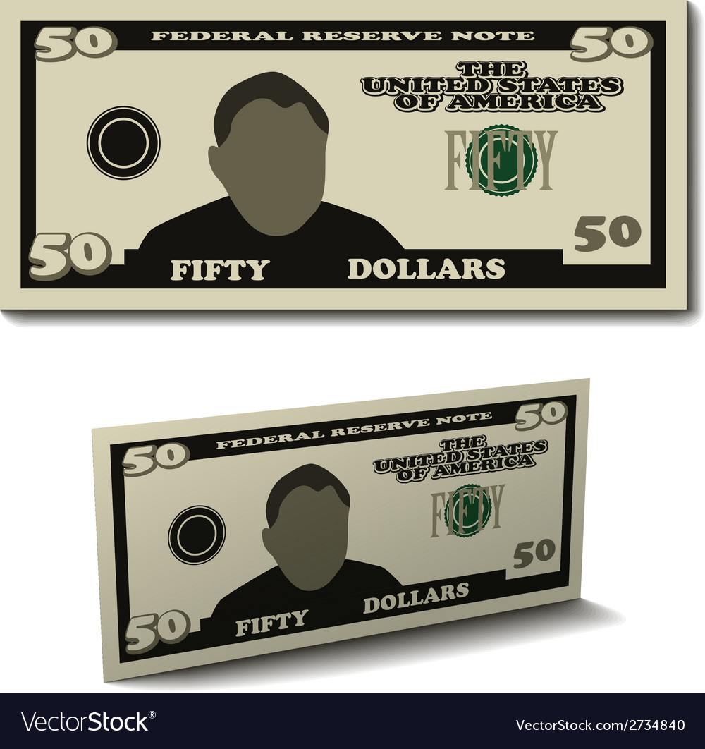 Fifty dollar paper bill banknote vector | Price: 1 Credit (USD $1)