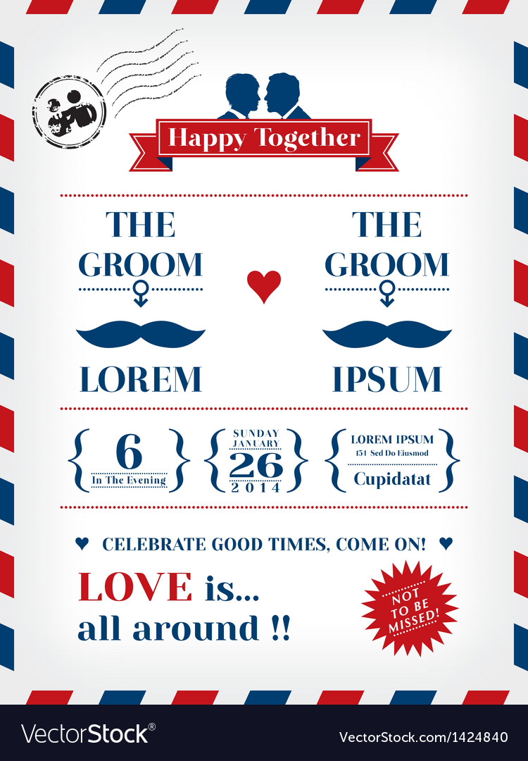 Gay wedding invitation vector | Price: 3 Credit (USD $3)