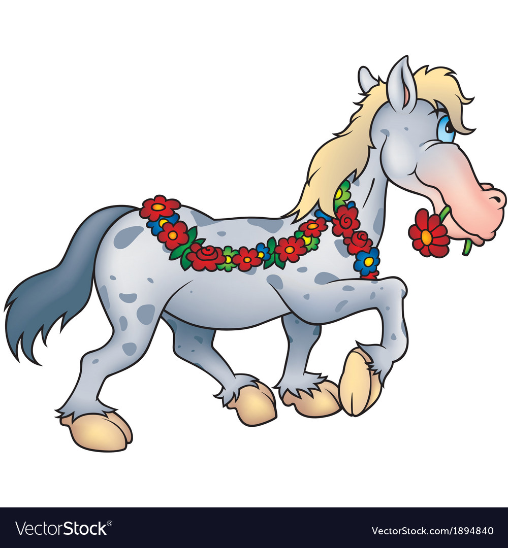 Horse and flowers vector | Price: 1 Credit (USD $1)