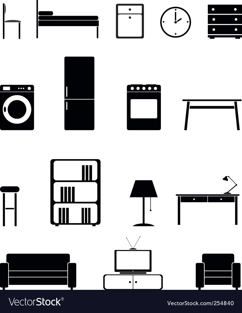 Interior icon set vector | Price: 1 Credit (USD $1)