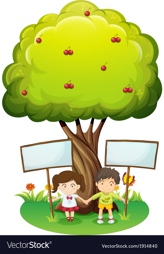 Kids under the tree with empty signboards vector | Price: 3 Credit (USD $3)