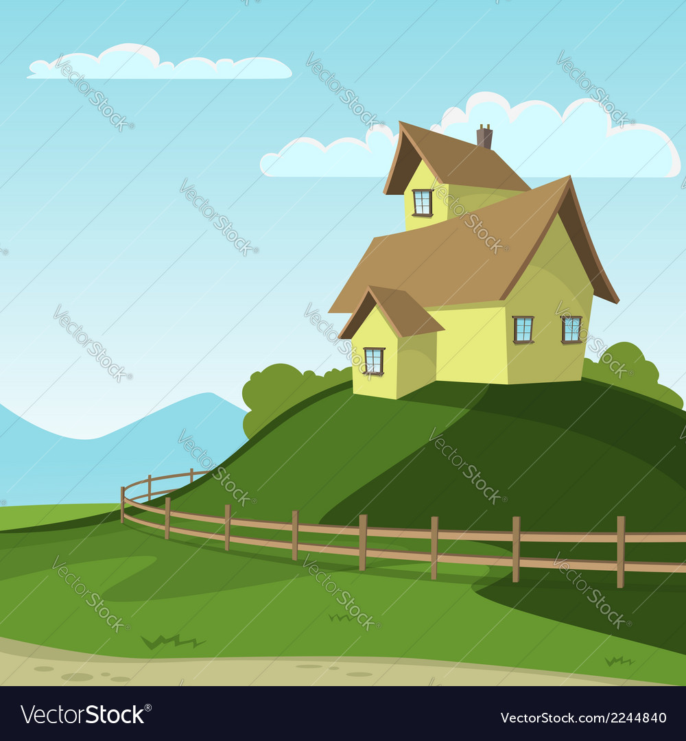 Landscape with house vector | Price: 1 Credit (USD $1)