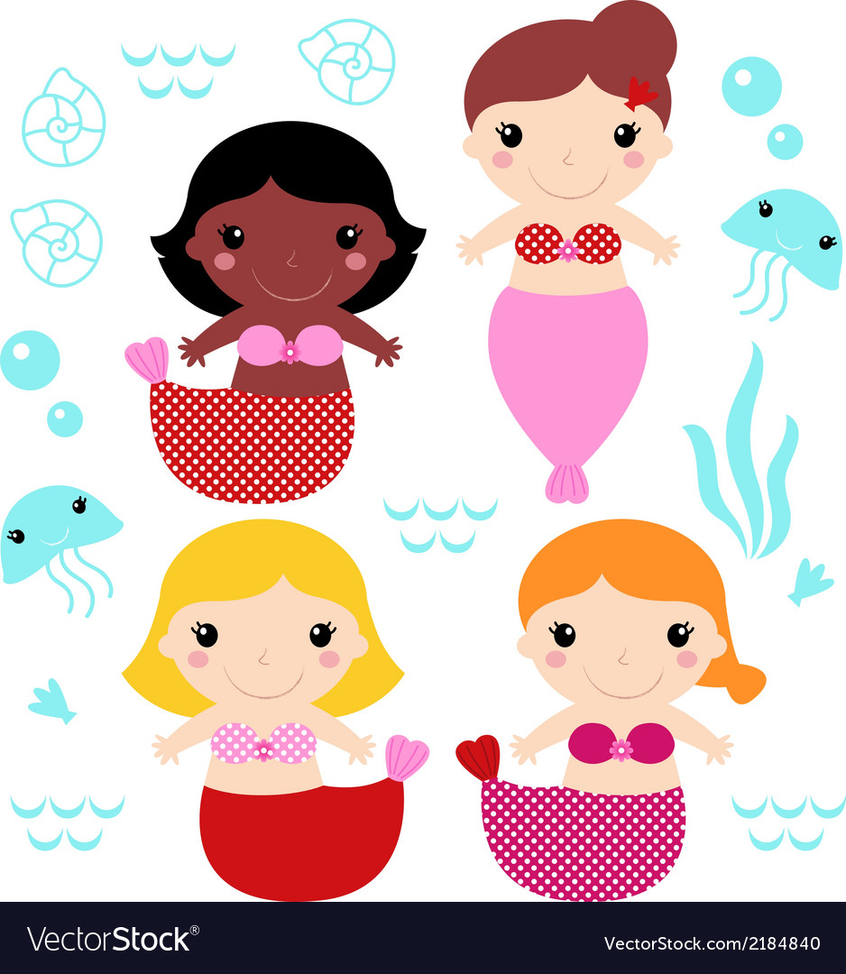 Little cute colorful mermaids set vector | Price: 1 Credit (USD $1)
