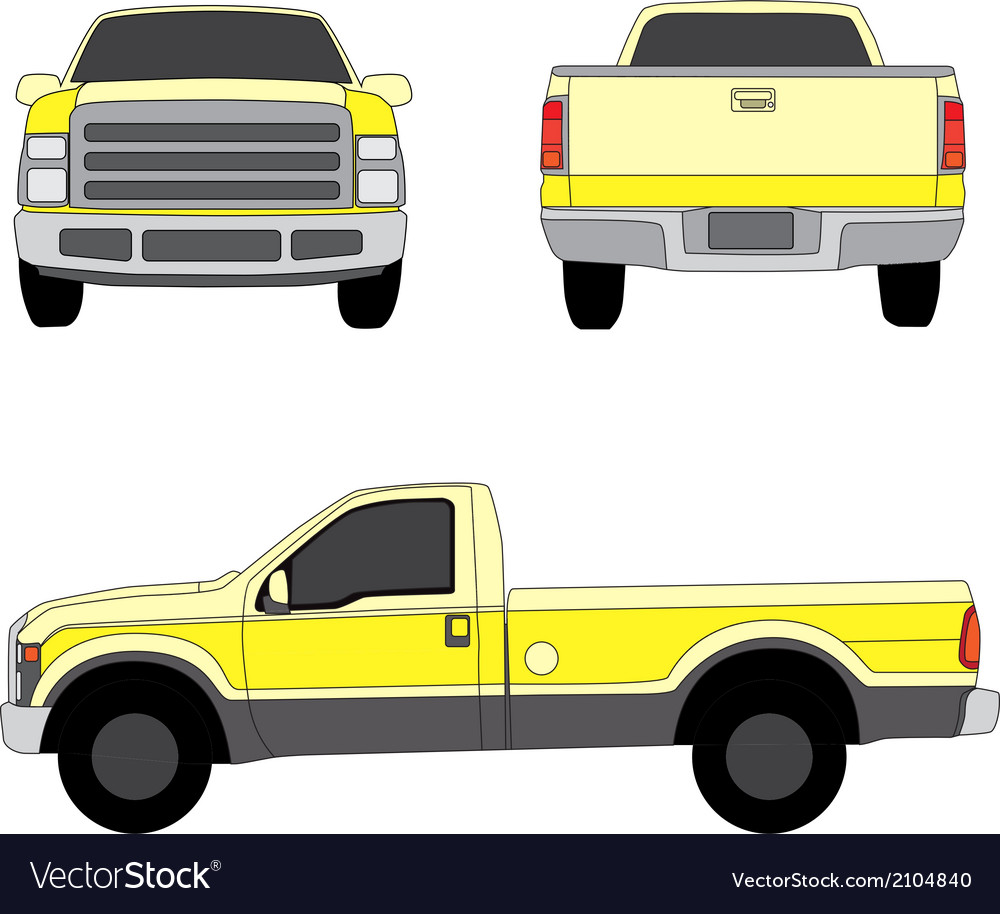 Pick-up truck yellow three sides view vector | Price: 1 Credit (USD $1)
