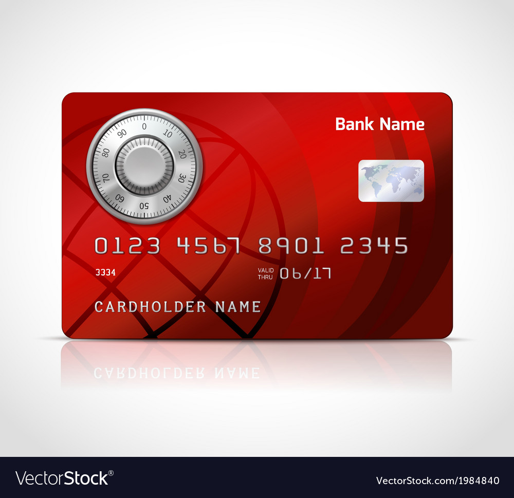 Realistic credit card template with code lock vector | Price: 1 Credit (USD $1)