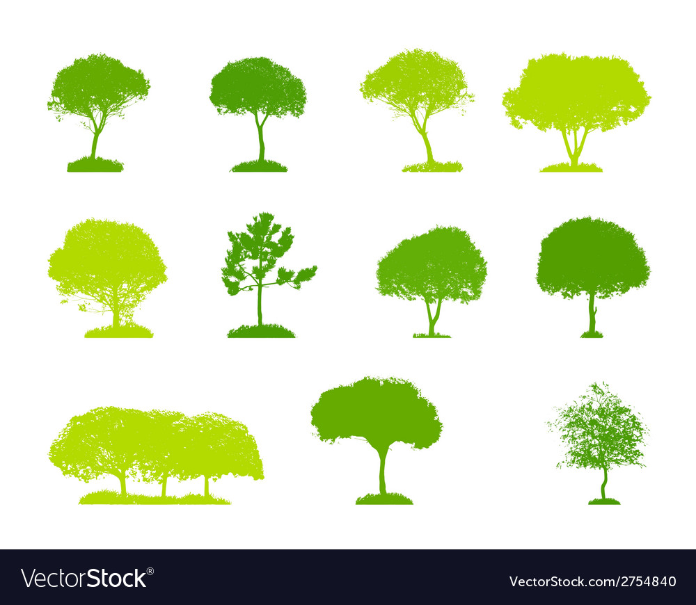 Set of tree silhouette isolated on white vector | Price: 1 Credit (USD $1)