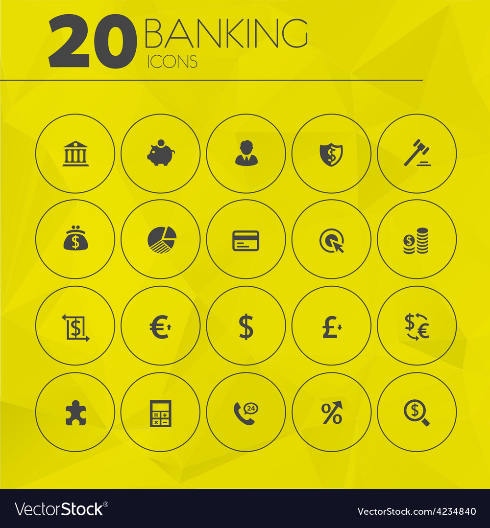 Simple thin banking icons collection vector | Price: 1 Credit (USD $1)