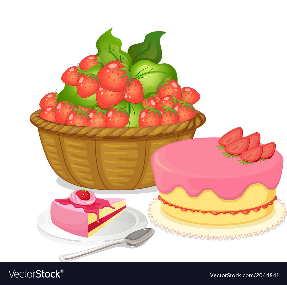 A basket of strawberries and a strawberry flavored vector | Price: 1 Credit (USD $1)