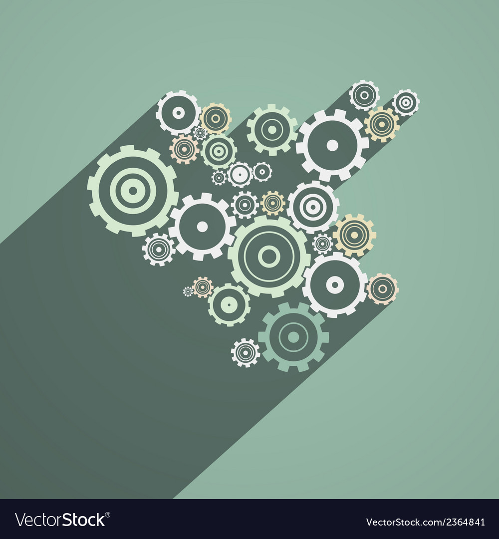 Abstract paper cogs gears on retro background vector | Price: 1 Credit (USD $1)