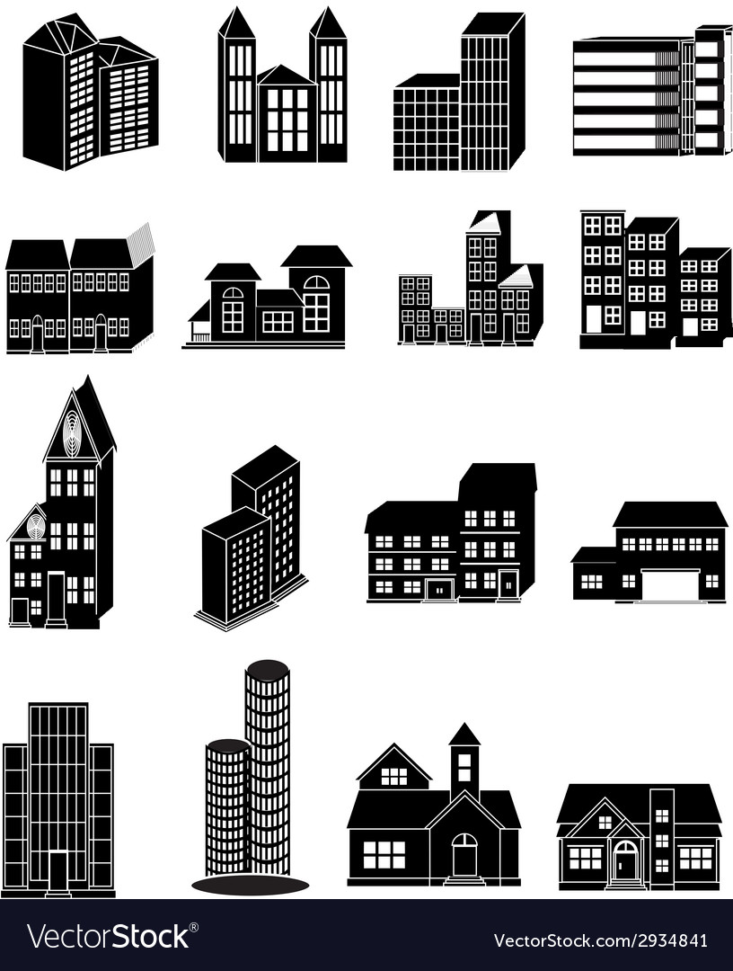 Building icons set vector | Price: 3 Credit (USD $3)