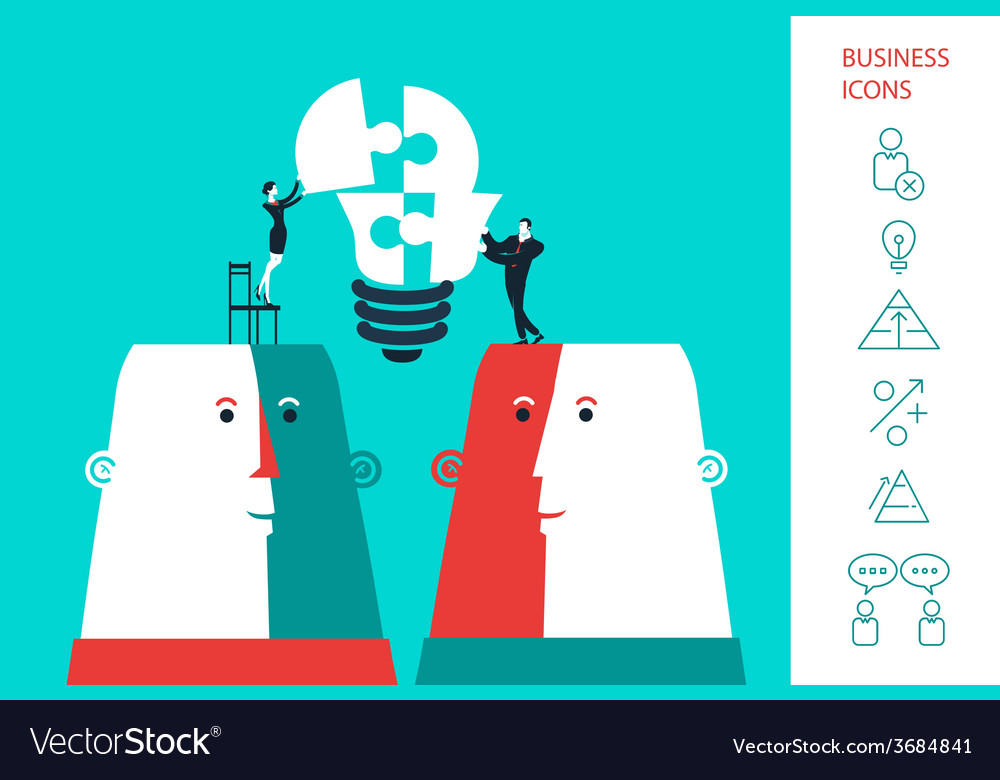 Businessman and business woman completing a bulb vector | Price: 1 Credit (USD $1)