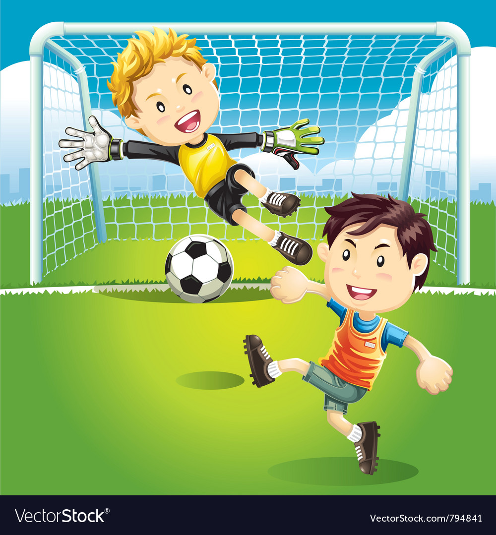 Children playing soccer outdoors vector | Price: 5 Credit (USD $5)