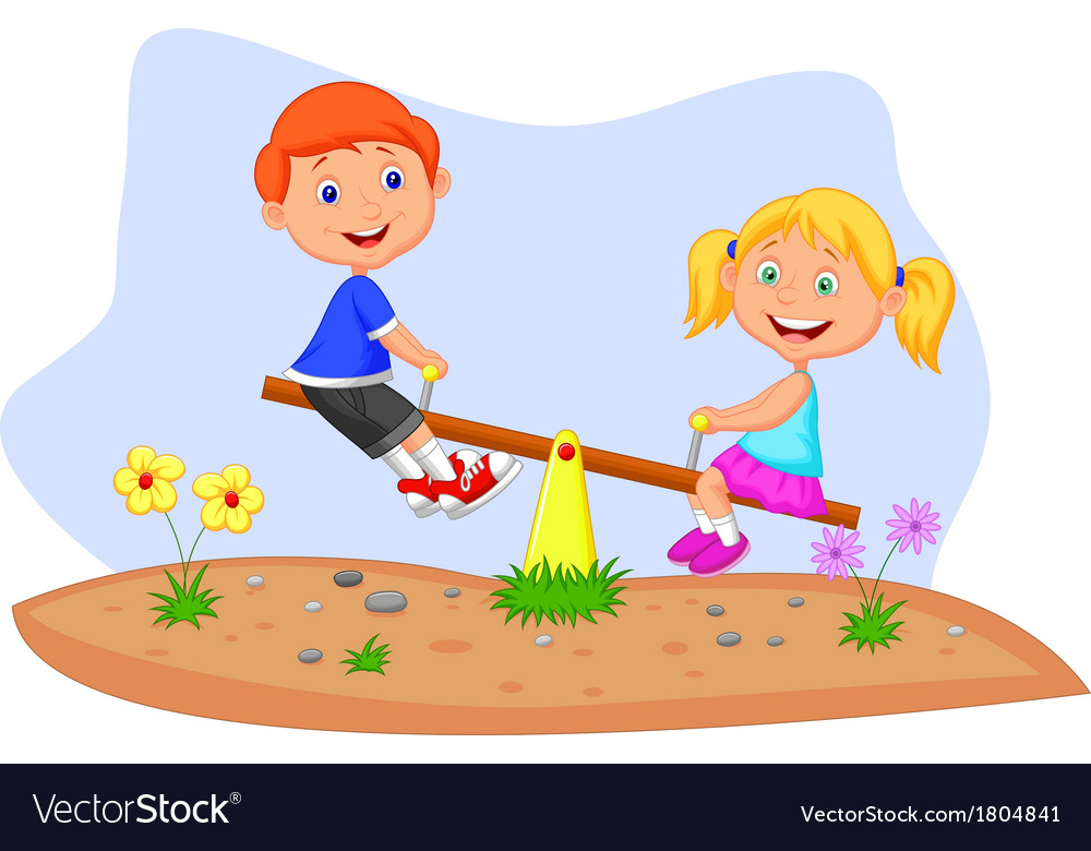 Kids cartoon riding on seesaw vector   Price: 1 Credit (USD $1)