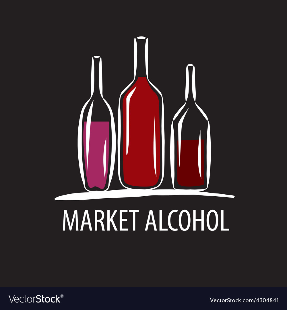 Logo wine bottles on a black background vector | Price: 1 Credit (USD $1)