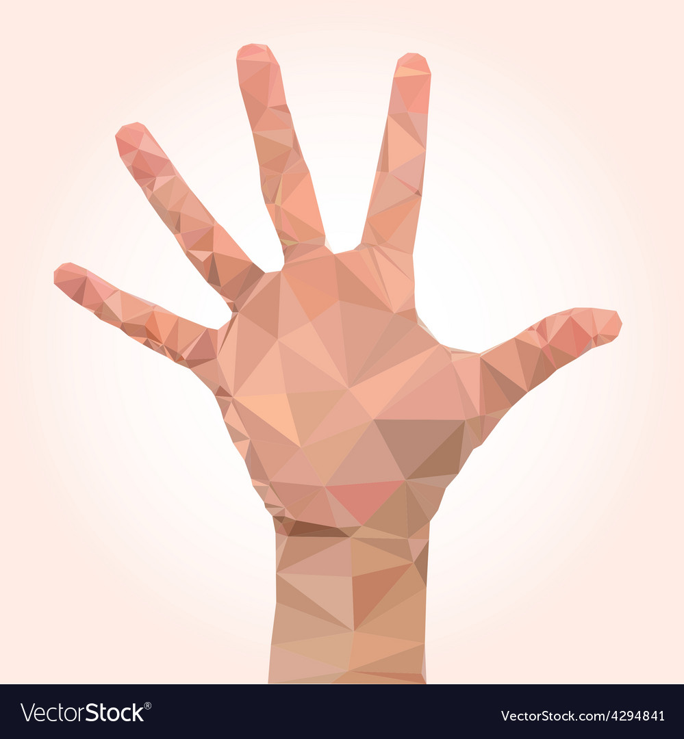 Low poly hand vector
