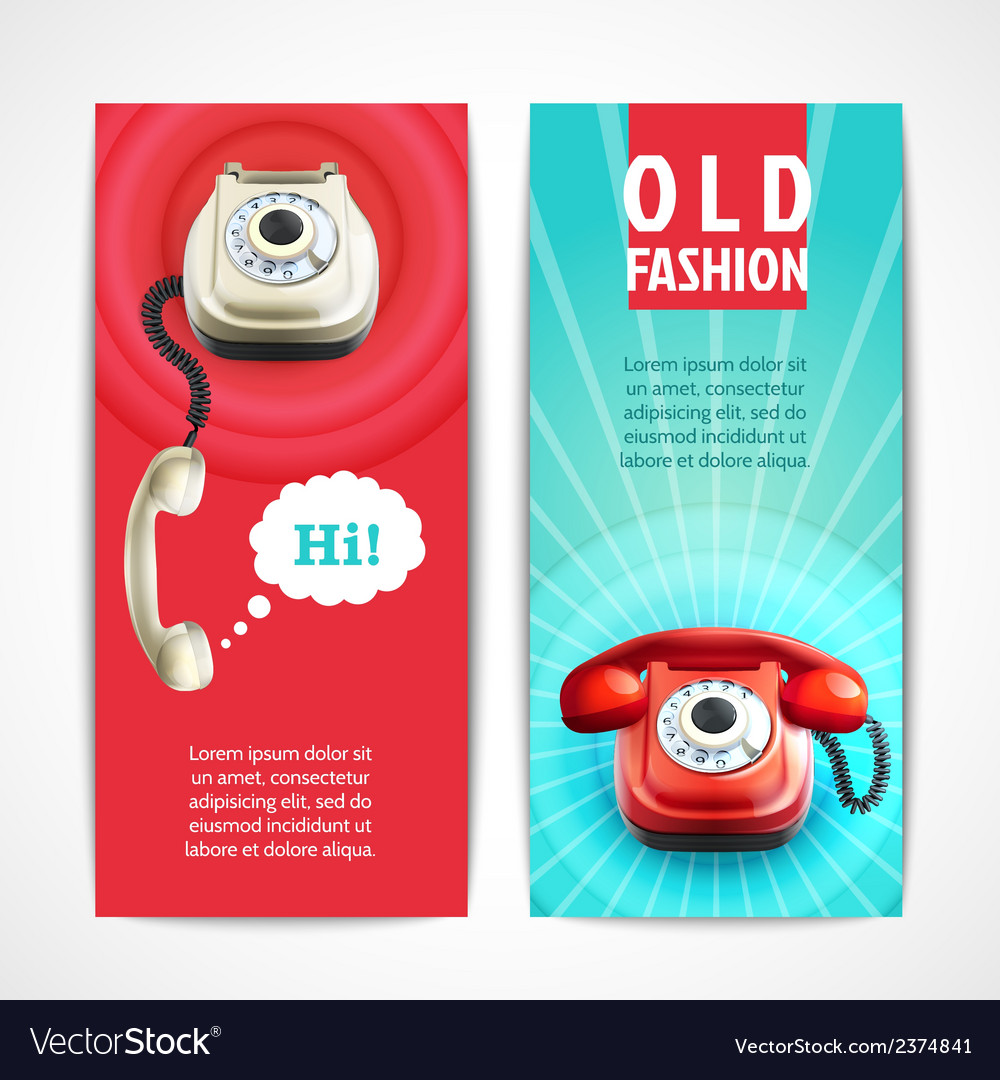 Old telephone banners vertical vector | Price: 1 Credit (USD $1)