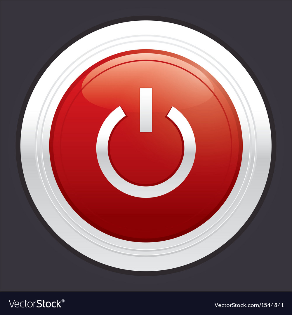 Power button red round sticker vector   Price: 1 Credit (USD $1)