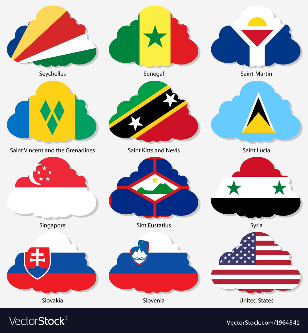 Set flags of world sovereign states in form clouds vector | Price: 1 Credit (USD $1)