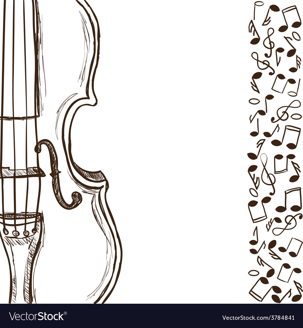 Violin or bass and music notes vector | Price: 1 Credit (USD $1)