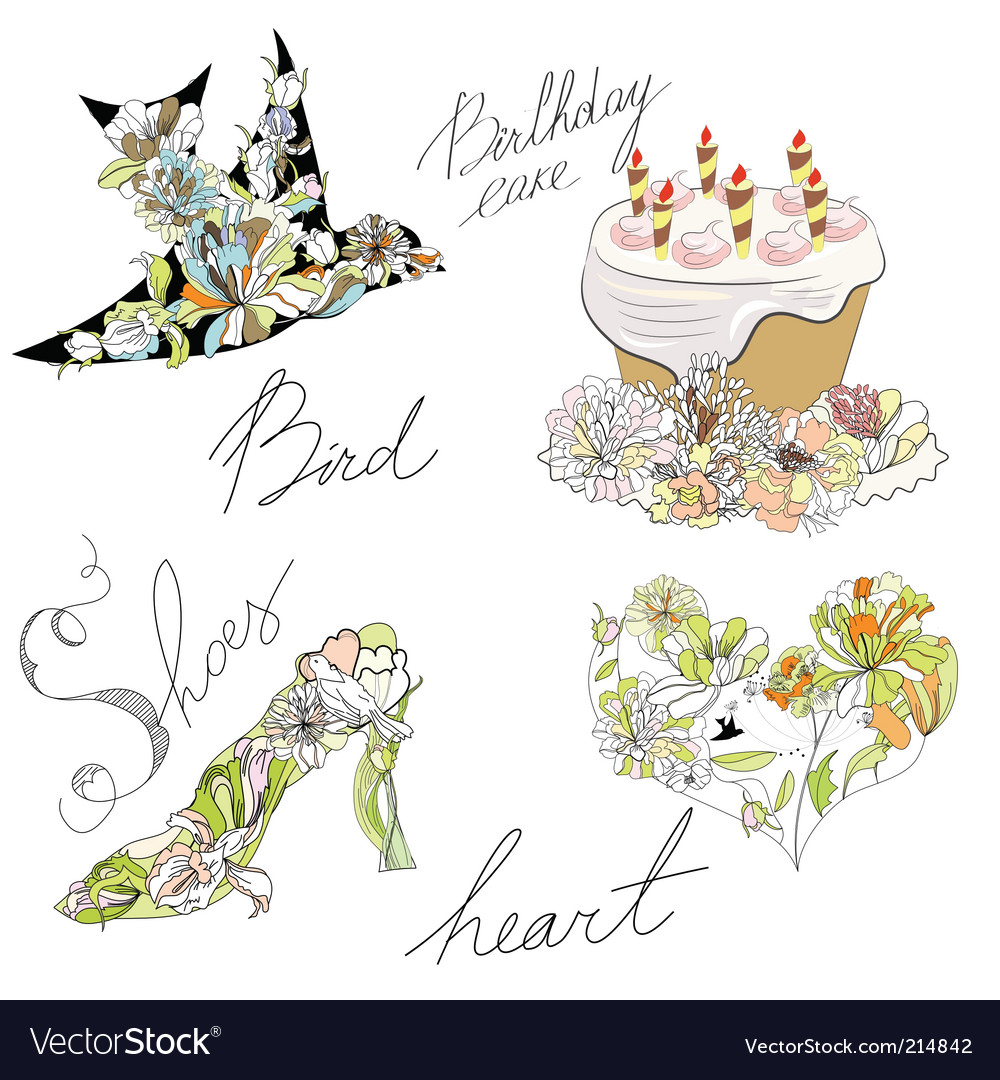 Bird cake heart shoes vector | Price: 1 Credit (USD $1)