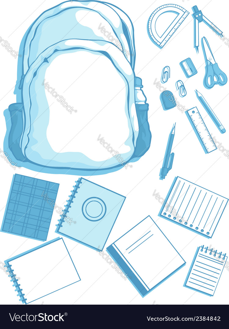 Costumizable kits of school bag and school vector | Price: 1 Credit (USD $1)