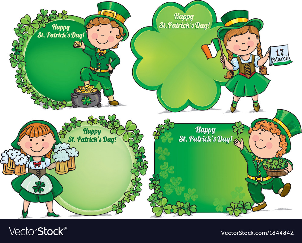 Happy st patricks day greeting banners vector | Price: 1 Credit (USD $1)