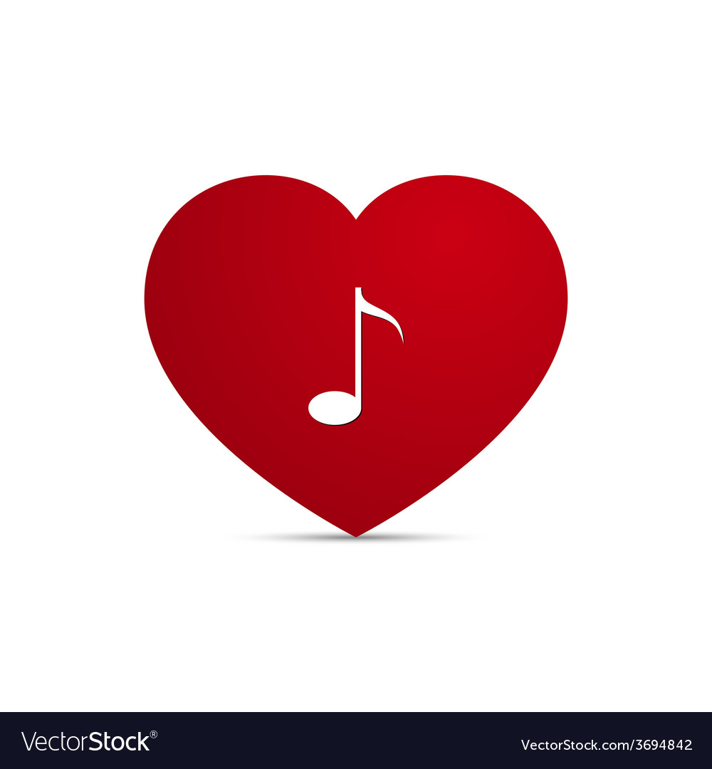 Love heart music note vector