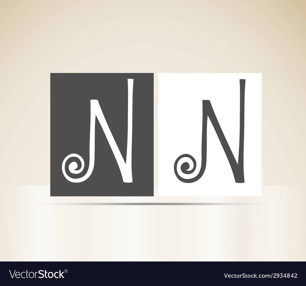 Retro alphabet letter n art deco vintage design vector | Price: 1 Credit (USD $1)