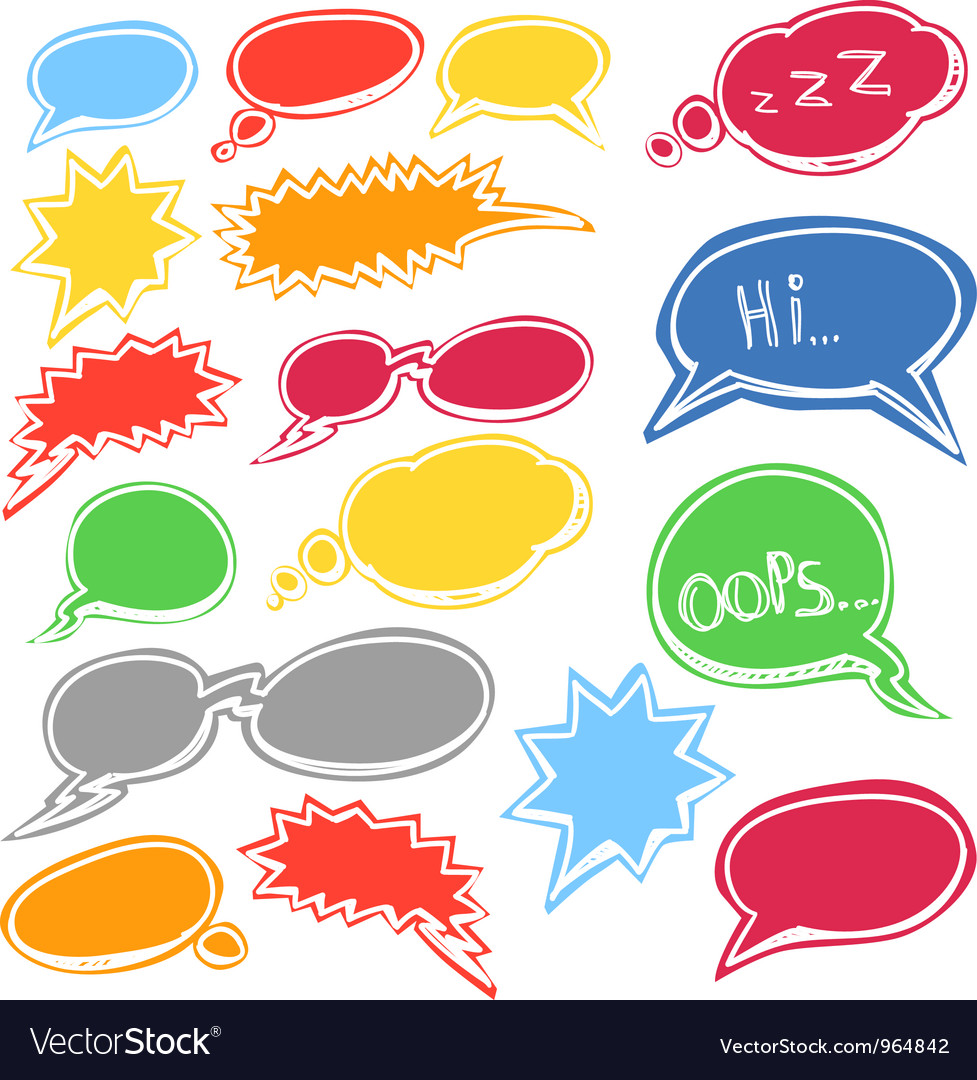 Set of colored comic style talk clouds vector | Price: 1 Credit (USD $1)