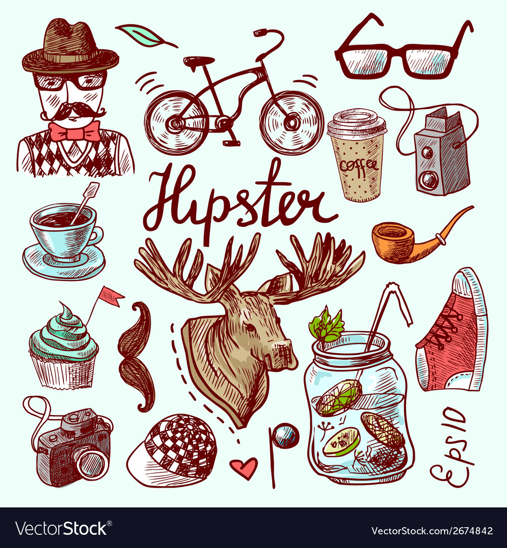 Set of hipster icons vector | Price: 3 Credit (USD $3)