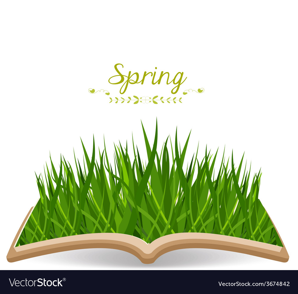 Spring with grass in the book vector | Price: 1 Credit (USD $1)
